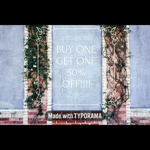 TODAY ONLY!! Buy one get one 50% off!